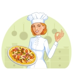 Cute cook girl with pizza on plate eps10 vector