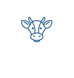 Dairy products cow head line icon concept dairy vector