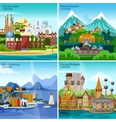 European Touristic Icon Set vector image
