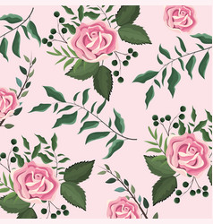 exotic roses with branches leaves background vector image
