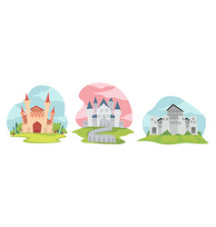 fantasy castle with medieval architecture exterior vector image