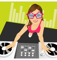 Female disc jockey mixing music vector
