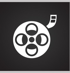 Film roll icon on black background for graphic and vector