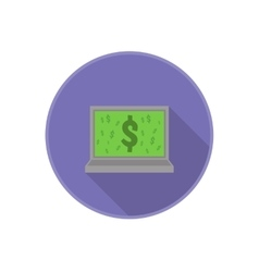 flat icon with computer and dollar sign on vector image vector image