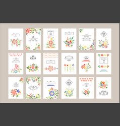 flat set retro card templates vector image