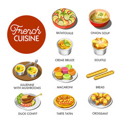 French cuisine menu vector