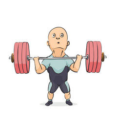 Funny cartoon weightlifter vector