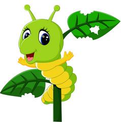 Funny caterpillar runs on a tree branch vector