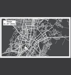 Ganja azerbaijan city map in black and white vector