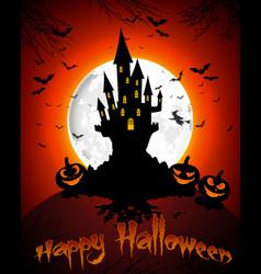 Halloween grave on full moon background vector