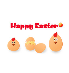 happy easter easter chickens eggs and roosters vector image