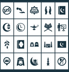 holiday icons set with financial assistance islam vector image