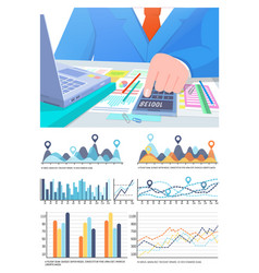 infographic and statistics business man vector image