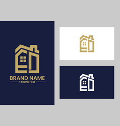 initial letter e and d with roreal estate vector image