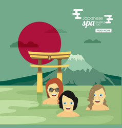 japanese spa flat banner vector image