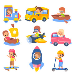kids transportation children in carriage vehicles vector image