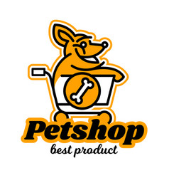 Logo on theme shop for pets a dog vector