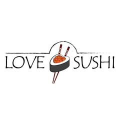 Love sushi icon vector