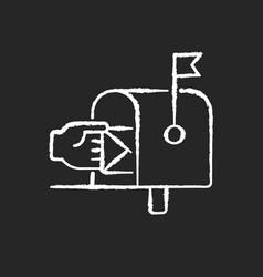 mailbox chalk white icon on black background vector image