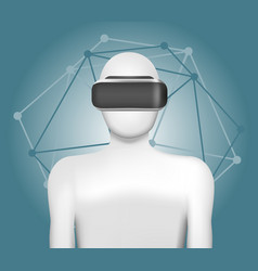 Man in virtual reality headset abstract vr vector