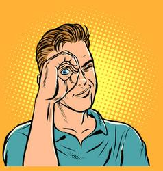 man look telescope hand vector image