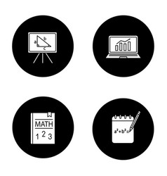 mathematics glyph icons set vector image