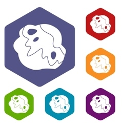 Moon stone icons set vector image