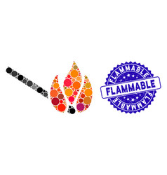 Mosaic burn match icon with textured flammable vector