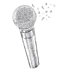 Musical microphone on white background vector