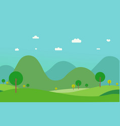 nature green hills landscape with mountain vector image