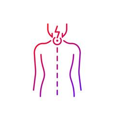 Neck pain gradient linear icon vector