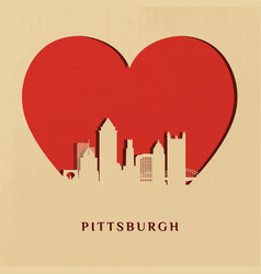 paper-cut silhouette pittsburgh skyline vector image