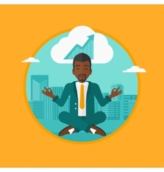 Peaceful businessman doing yoga vector image