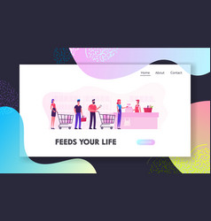 people in supermarket website landing page vector image