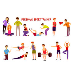 Personal sport trainer orthogonal icons vector