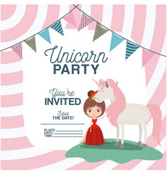 Princess with unicorn invitation card vector