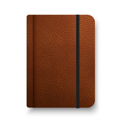 Realistic brown notebook with black elastic band vector