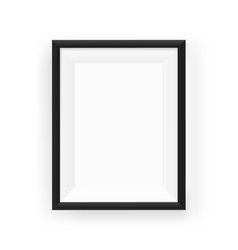 Realistic empty black picture frame on a wall vector