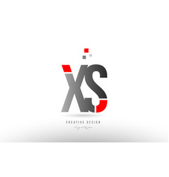 red grey alphabet letter xs x s logo combination vector image
