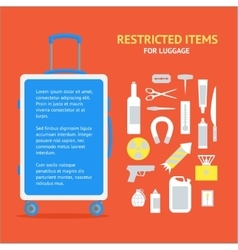 Restricted Items Set and Suitcase Banner Card vector