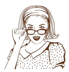 retro pretty woman face with sunglasses vector image