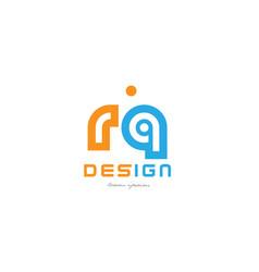 Rq r q orange blue alphabet letter logo vector