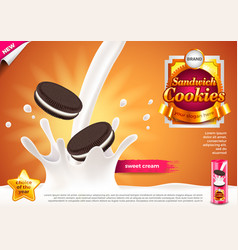 Sandwich cookies in pouring milk ads background vector