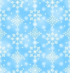 Seamless Pattern with Beautiful Snowflakes vector image