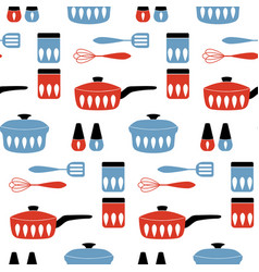 Seamless pattern with cookware for cooking food vector