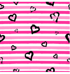 seamless pattern with hand drawn heart on striped vector image