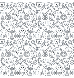 seamless pattern with icons baby items vector image