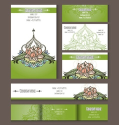 Set of templates for corporate style with lotus vector
