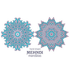 set two abstract round lace design vector image
