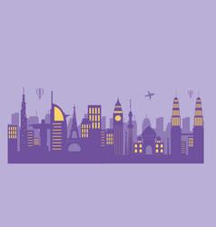 skyline landmarks air balloons and airplane vector image